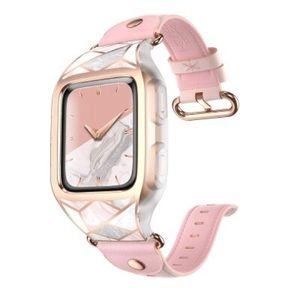 Fitbit Versa Band Pink Leather Gold Marble